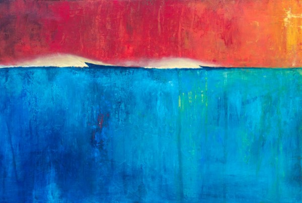 Burning Up Above - Contemporary surf painting by Scott Denholm artist