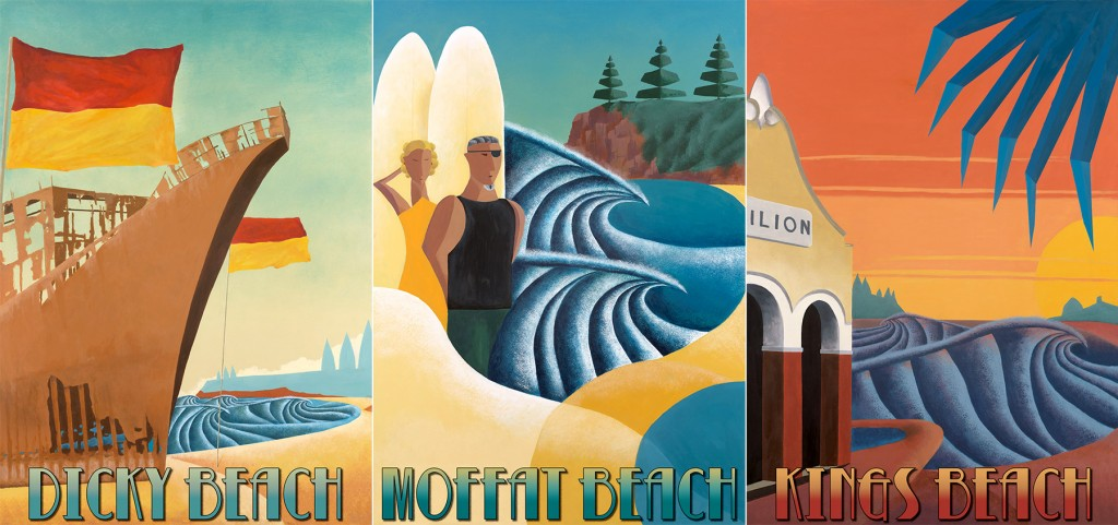 Art Deco Surf Posters series by Scott Denholm