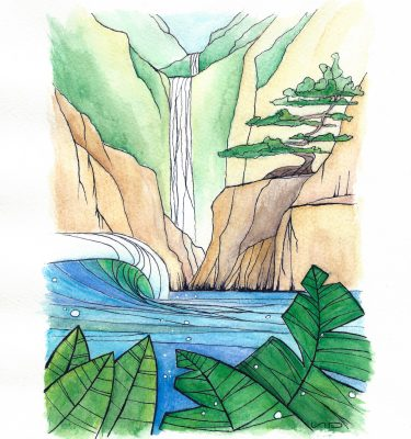 Scott Denholm ocean surf art watercolour painting Tropical Waterfall