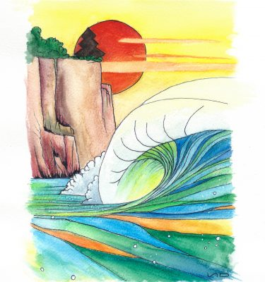 Scott Denholm ocean surf art watercolour painting uluwatu temple